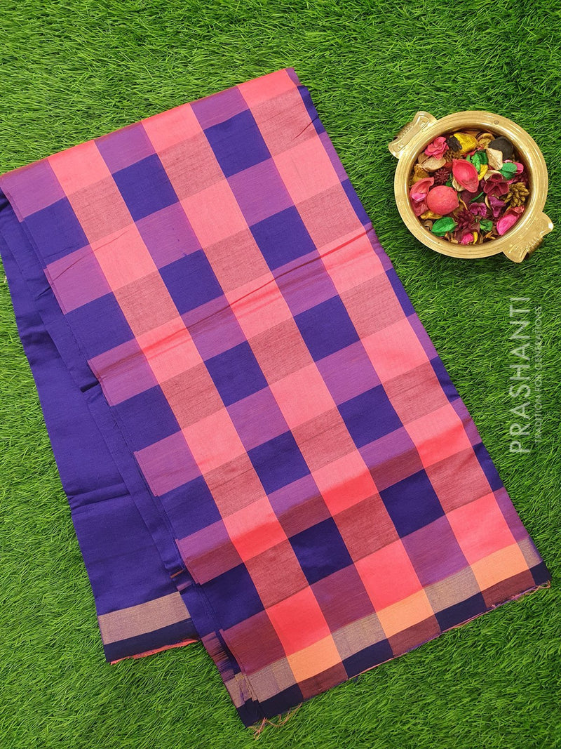Semi silk cotton saree peach and violet checked pattern with simple zari border