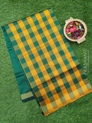 Semi silk cotton saree yellow and green checked pattern with simple zari border