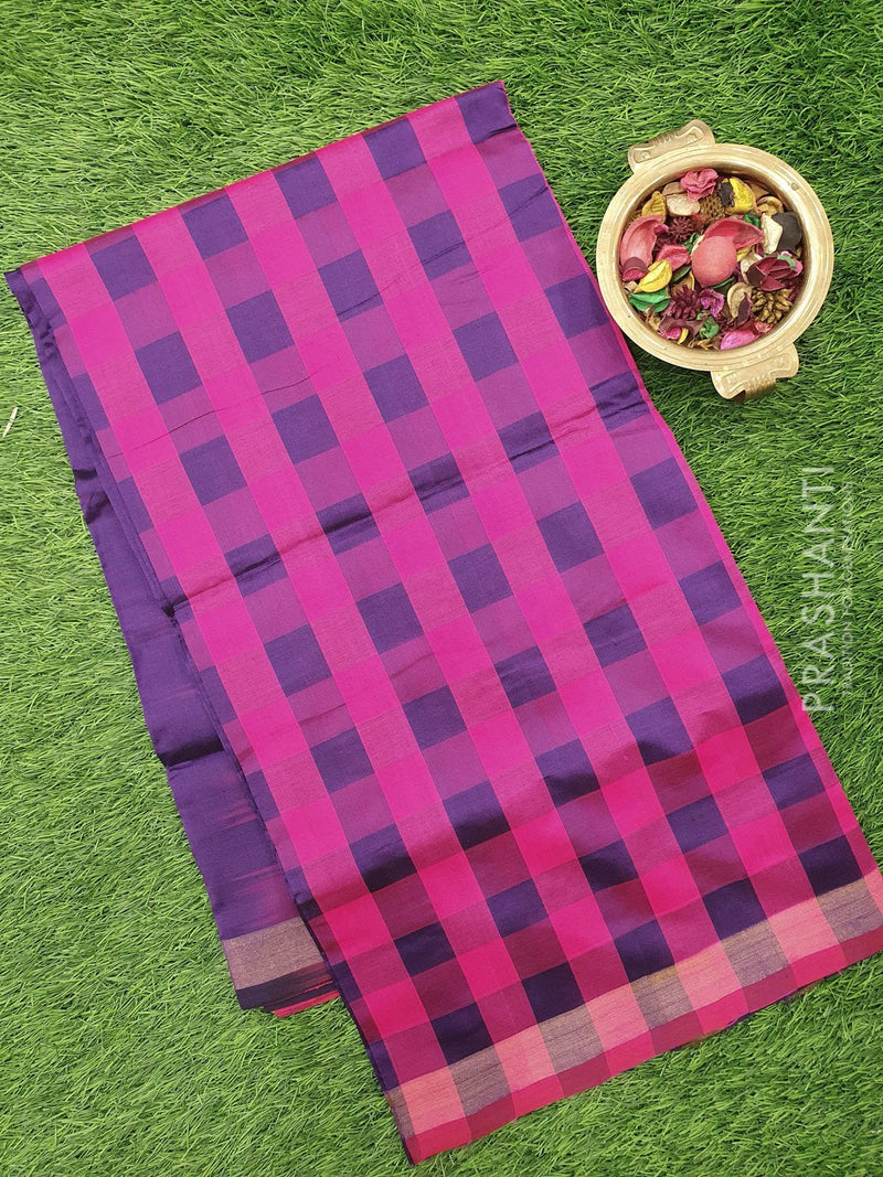 Semi silk cotton saree hot pink and violet checked pattern with simple zari border