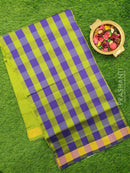 Semi silk cotton saree violet and green checked pattern with simple zari border