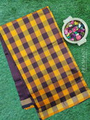 Semi silk cotton saree mango yellow and cofee brown checked pattern with simple zari border