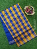 Semi silk cotton saree mango yellow and blue checked pattern with simple zari border
