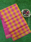Semi silk cotton saree mustard yellow and pink checked pattern with simple zari border