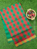 Semi silk cotton saree red and green checked pattern with simple zari border