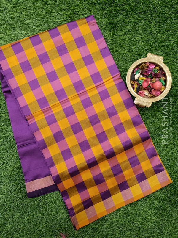 Semi silk cotton saree mango yellow and deep purple checked pattern with simple zari border