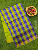 Semi silk cotton saree blue and green checked pattern with simple zari border
