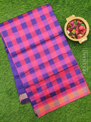 Semi silk cotton saree pink and violet checked pattern with simple zari border