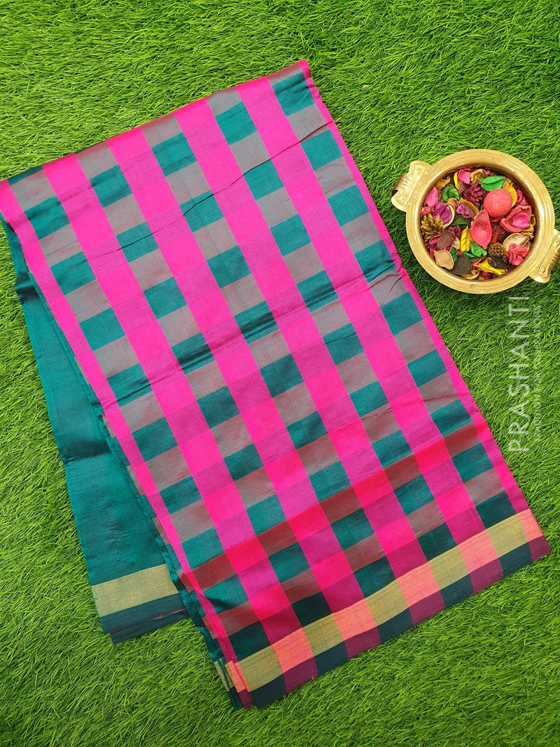 Semi silk cotton saree pink and peacock green checked pattern with simple zari border