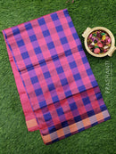 Semi silk cotton saree blue and pink checked pattern with simple zari border