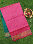 Semi silk cotton saree peacock green and pink plain body with ikkat zari border