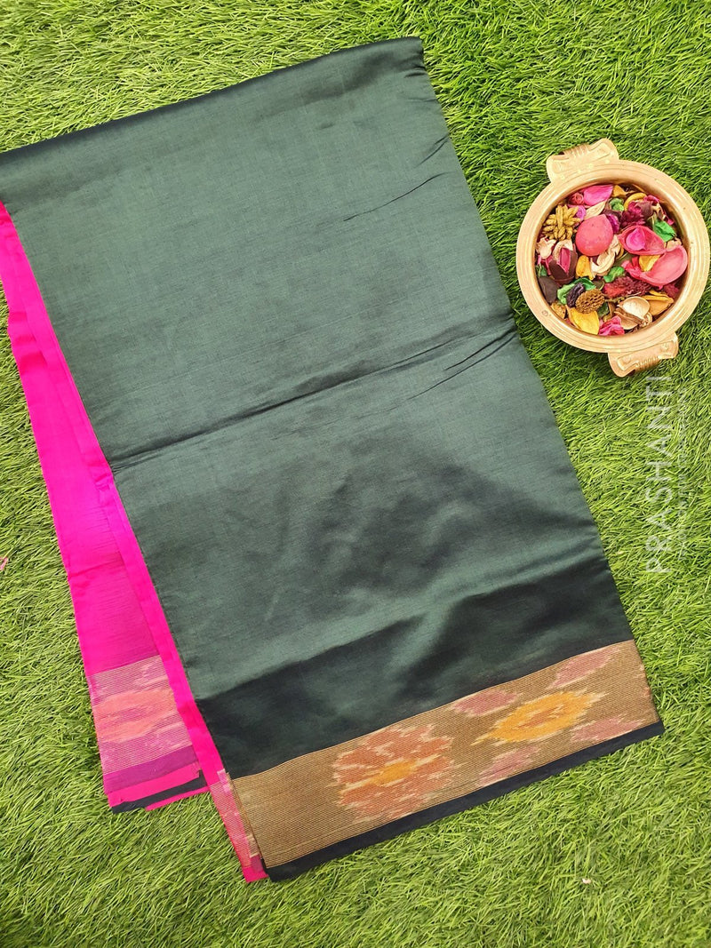 Semi silk cotton saree bottle green and pink plain body with ikkat zari border