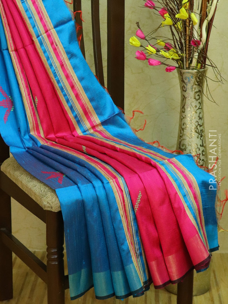Dupion silk saree blue and pink with thread weaving and golden zari border