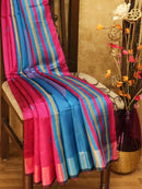Dupion silk saree magenta pink and blue with thread weaving and golden zari border