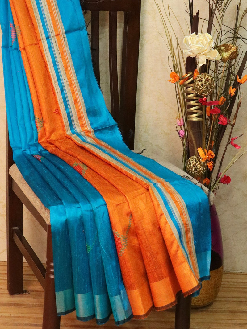 Dupion silk saree blue and orange with thread weaving and golden zari border