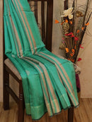 Dupion silk saree teal green with thread weaving and golden zari border