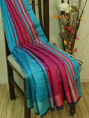 Dupion silk saree blue and magenta pink with thread weaving and golden zari border