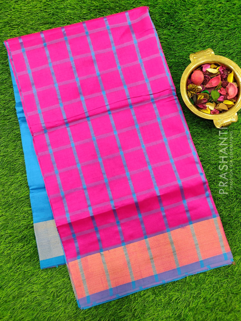 Semi silk cotton saree pink and blue with checked body and golden zari border