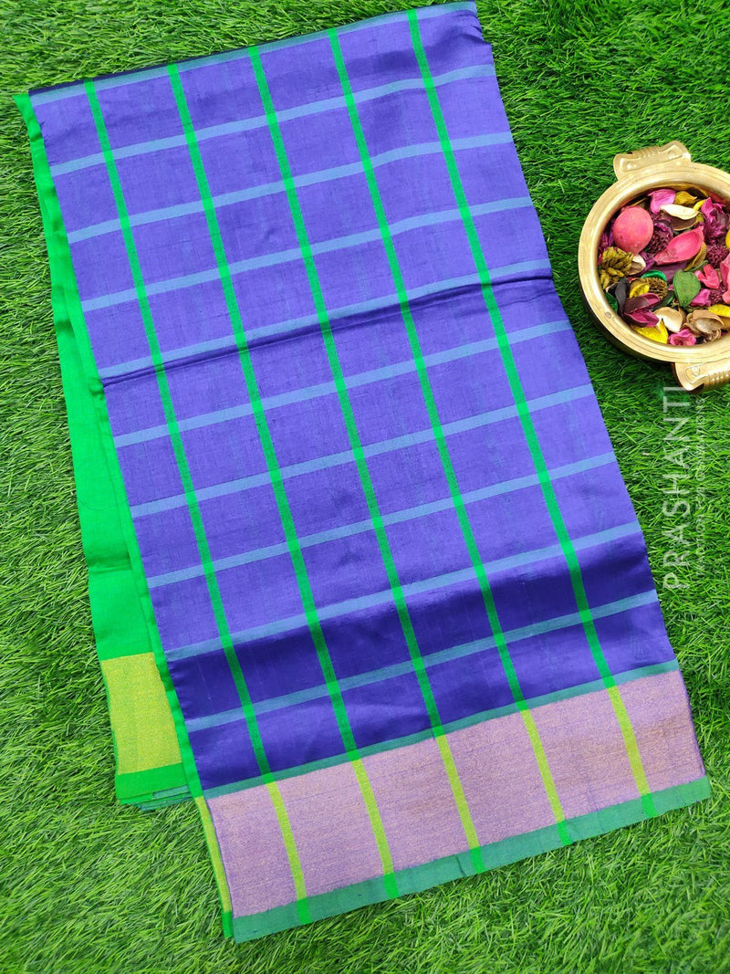 Semi silk cotton saree blue and green with checked body and golden zari border