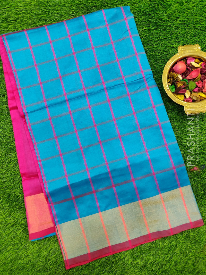 Semi silk cotton saree cs blue and pink with checked body and golden zari border