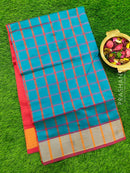 Semi silk cotton saree blue and red with checked body and golden zari border