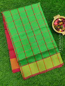 Semi silk cotton saree green and maroon with checked body and golden zari border