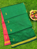 Semi silk cotton saree green and pink with golden zari buttas and zari border