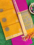 Silk Cotton Dress Material mango yellow and pink with woven silk cotton dupatta