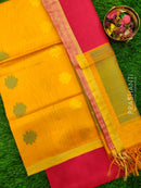 Silk Cotton Dress Material yellow and tomato red with woven silk cotton dupatta