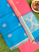 Silk Cotton Dress Material cs blue and peachish pink with woven silk cotton dupatta