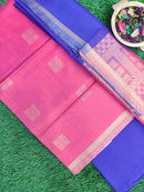 Silk Cotton Dress Material peach and royal blue with woven silk cotton dupatta