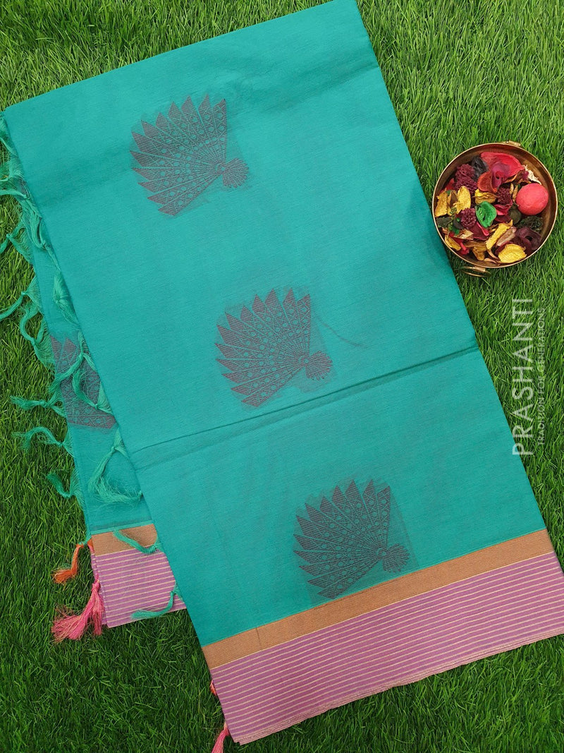 Handloom Cotton Saree teal and mild violet with thread woven buttas and golden zari border
