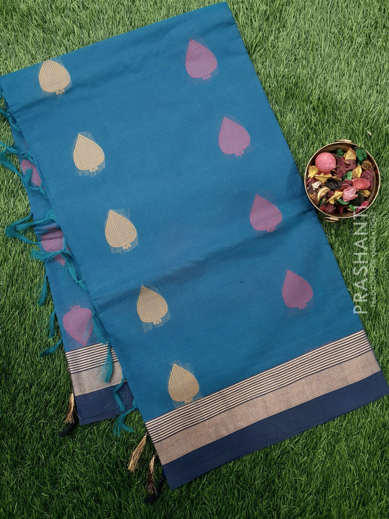 Handloom Cotton Saree peacock blue and navy blue with thread woven buttas and golden zari border