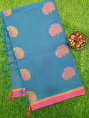 Handloom Cotton Saree peacock blue and pink with thread woven paisley buttas and piping border