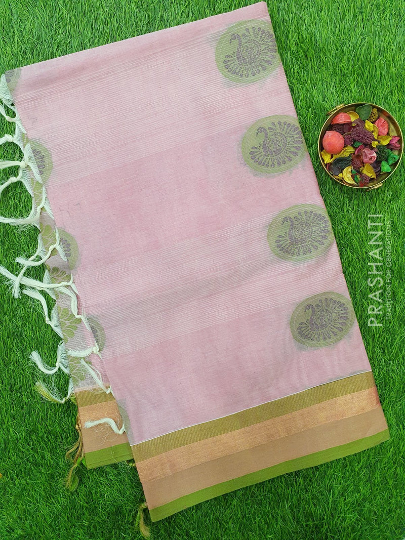 Handloom Cotton Saree baby pink and green with thread woven buttas and golden zari border
