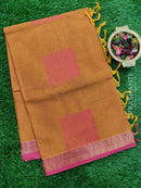 Handloom Cotton Saree rust and pink with thread woven floral buttas and simple zari border