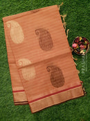 Handloom Cotton Saree dual shade of rust with thread woven paisley buttas and simple zari border