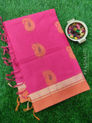 Handloom Cotton Saree pink with thread woven pailsey buttas and zari border