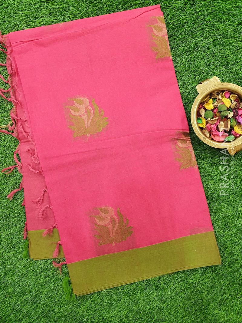Handloom Cotton Saree pink and green with thread woven buttas and border