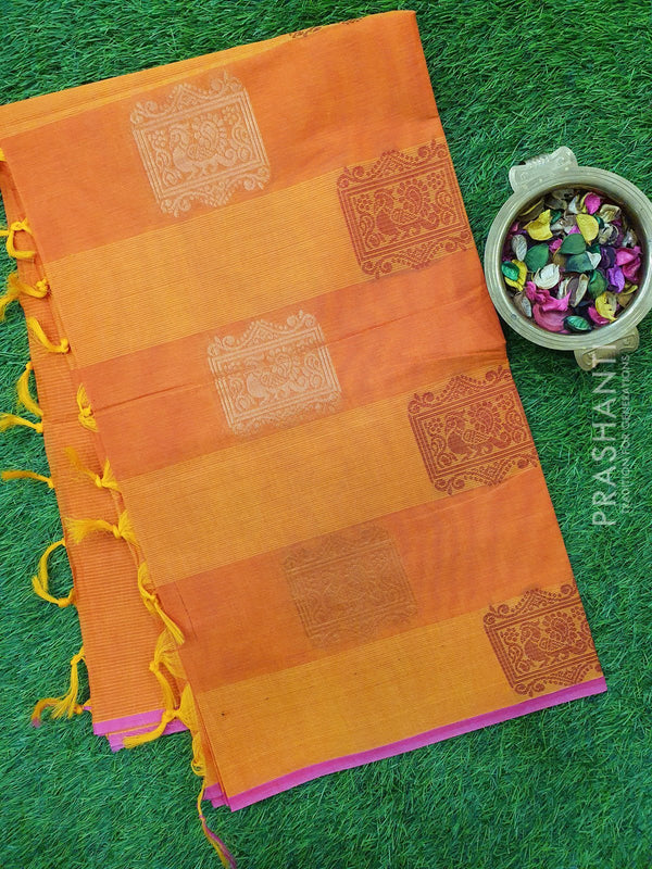 Handloom Cotton Saree yellow orange with thread and zari woven box buttas in borderless style
