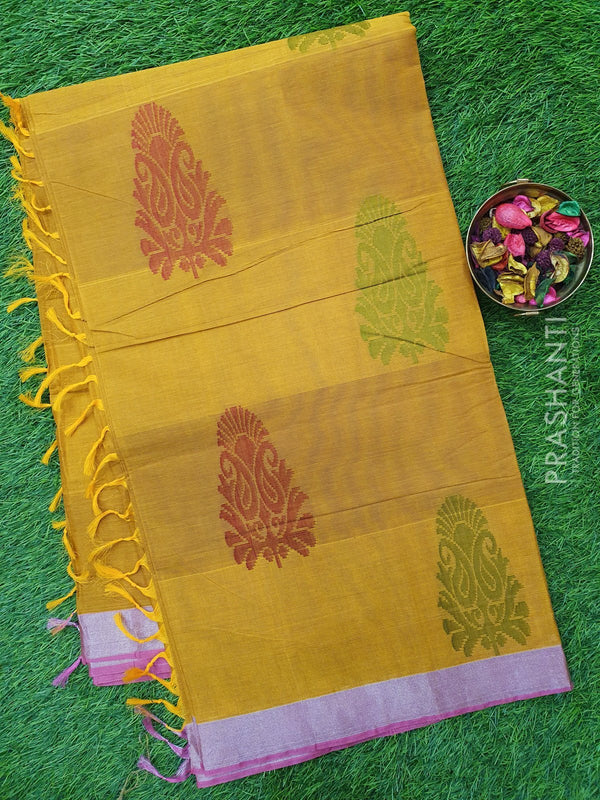 Handloom Cotton Saree mustard yellow with thread and zari woven floral buttas and zari border