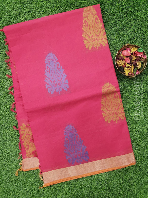 Handloom Cotton Saree hot pink with thread and zari woven floral buttas and zari border