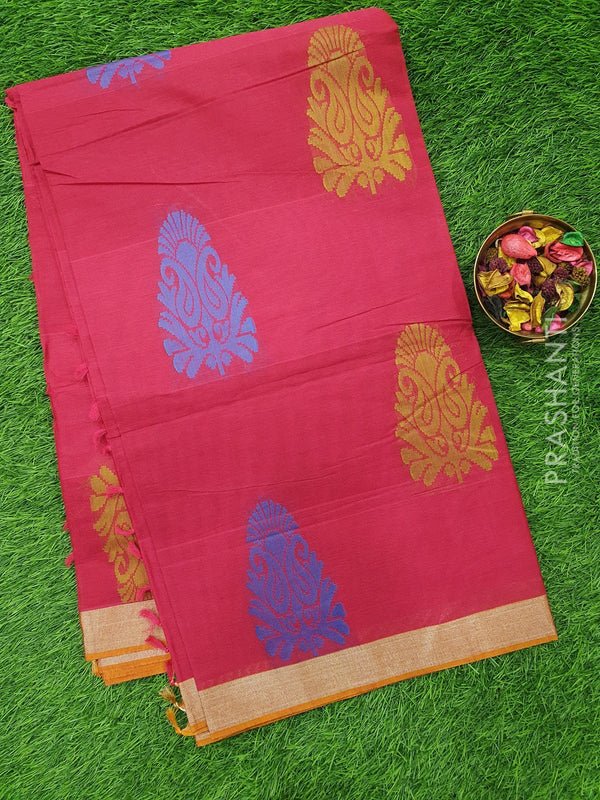 Handloom Cotton Saree maroon with thread and zari woven floral buttas and zari border