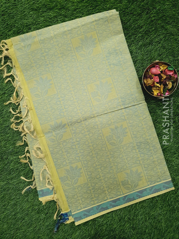 Handloom Cotton Saree mild green with thread weaves in borderless style