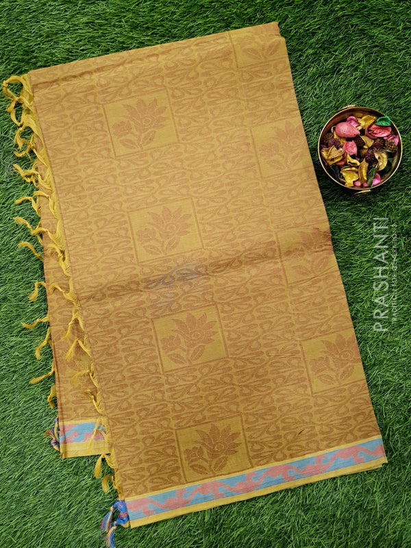 Handloom Cotton Saree elaichi green shade with thread weaves in borderless style