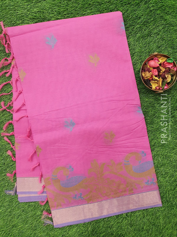 Handloom Cotton Saree pink with thread woven buttas and zari border