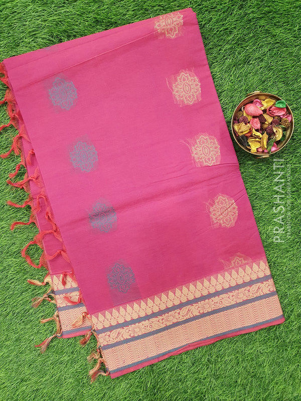 Handloom Cotton Saree dark pink with thread woven buttas and border