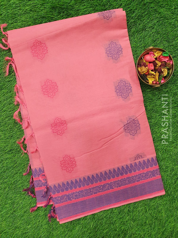 Handloom Cotton Saree pink with thread woven buttas and border