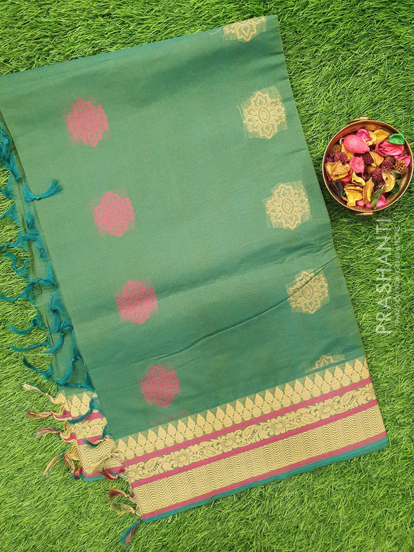 Handloom Cotton Saree green with thread woven buttas and border