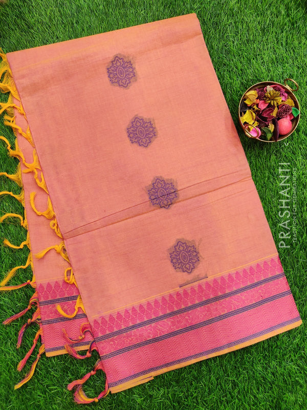 Handloom Cotton Saree dual shade of pink with thread woven buttas and piping border