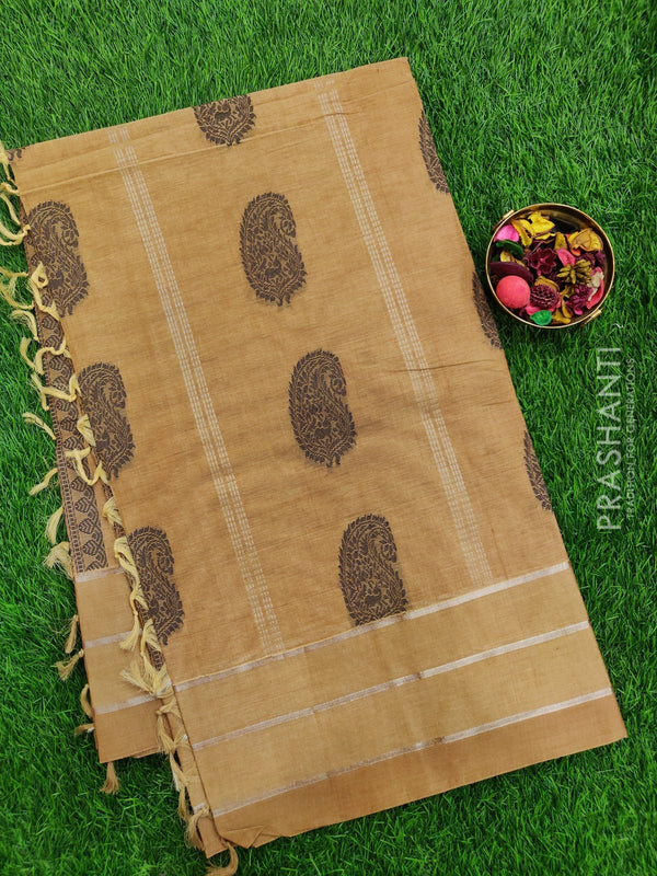 Handloom Cotton Saree dark beige with thread and zari woven buttas in borderless style